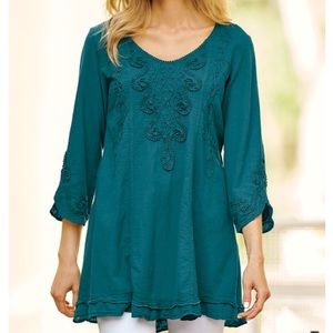 SOFT SURROUNDINGS Teal Embroidered Tunic Sz Large